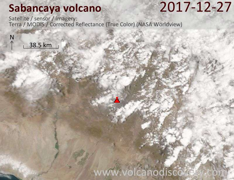 Satellite image of Sabancaya volcano on 27 Dec 2017