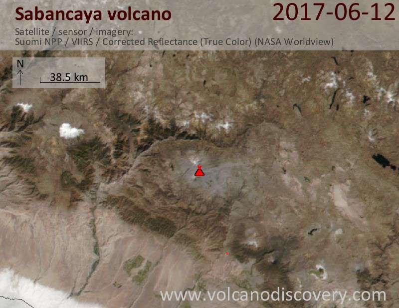 Satellite image of Sabancaya volcano on 13 Jun 2017