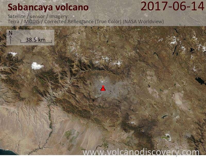 Satellite image of Sabancaya volcano on 14 Jun 2017
