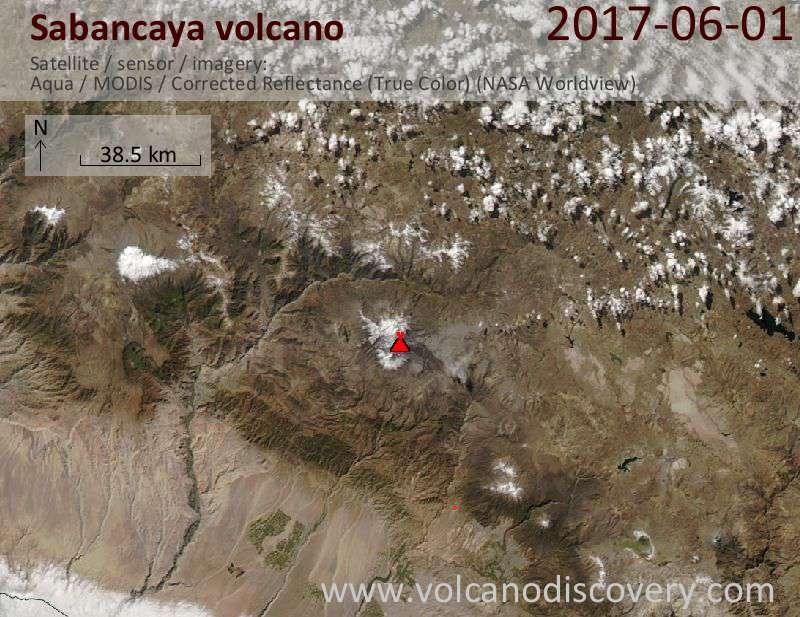 Satellite image of Sabancaya volcano on  2 Jun 2017