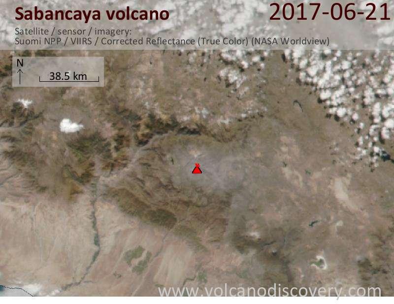 Satellite image of Sabancaya volcano on 22 Jun 2017