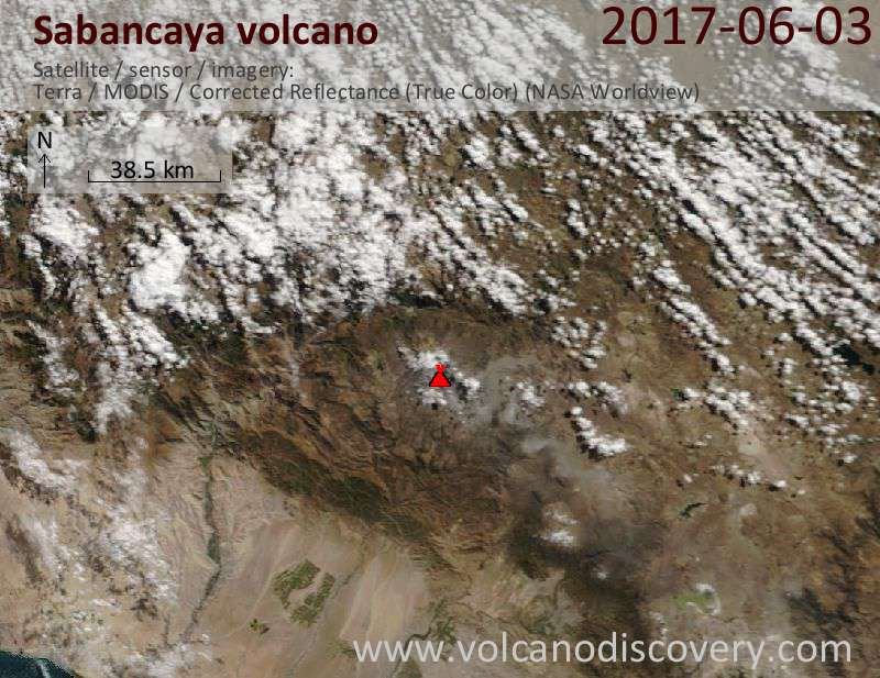 Satellite image of Sabancaya volcano on  3 Jun 2017