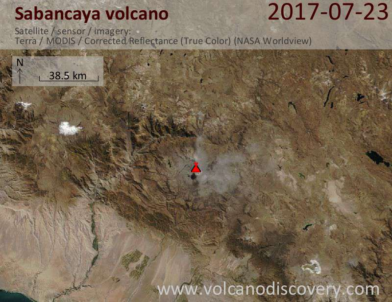 Satellite image of Sabancaya volcano on 23 Jul 2017