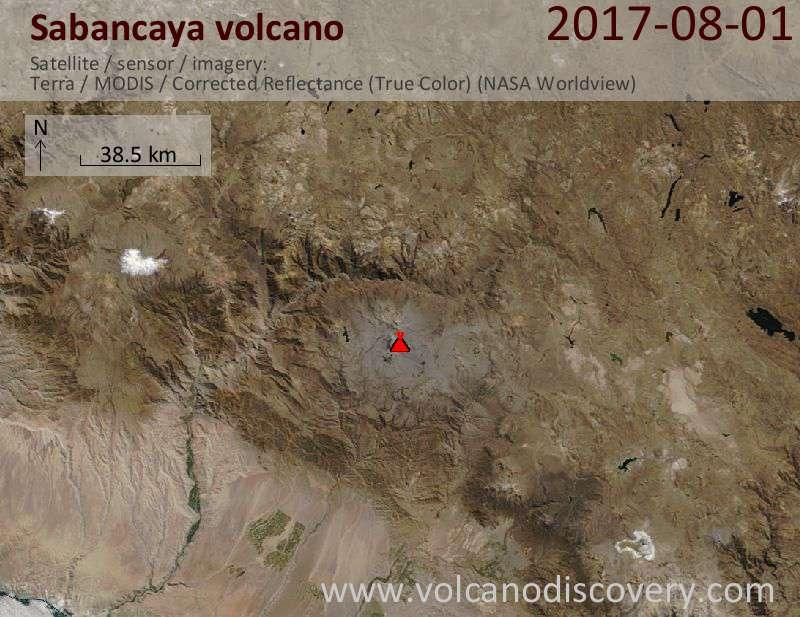 Satellite image of Sabancaya volcano on  1 Aug 2017