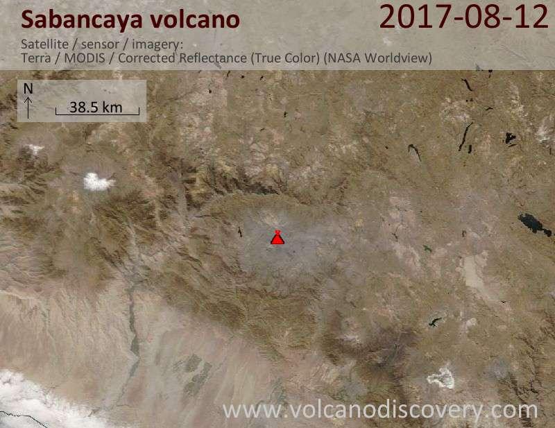 Satellite image of Sabancaya volcano on 12 Aug 2017