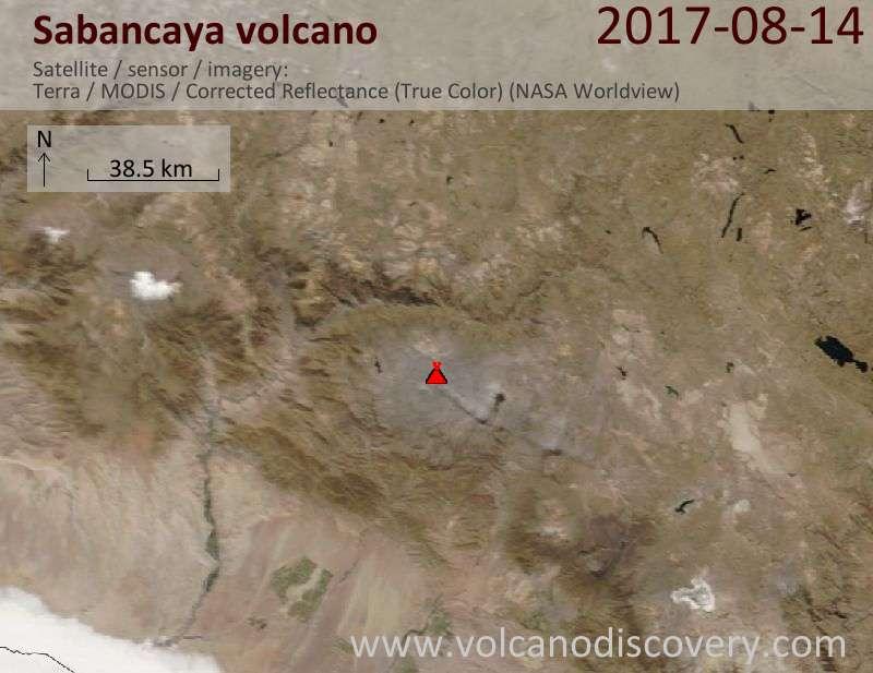 Satellite image of Sabancaya volcano on 14 Aug 2017