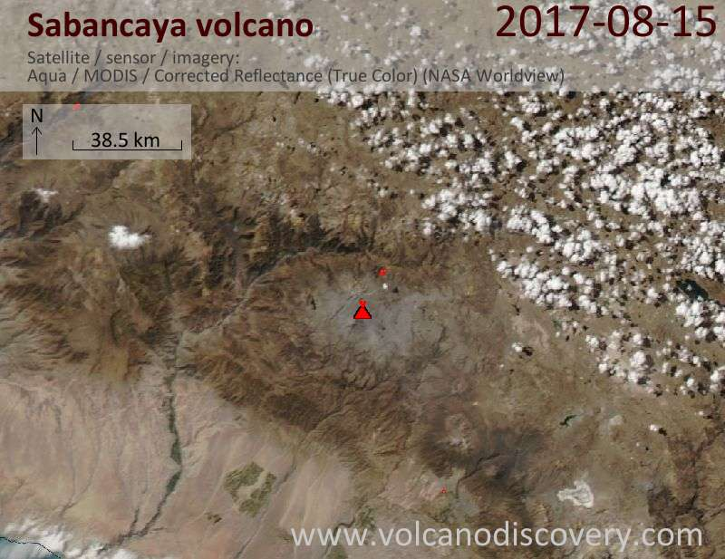 Satellite image of Sabancaya volcano on 16 Aug 2017