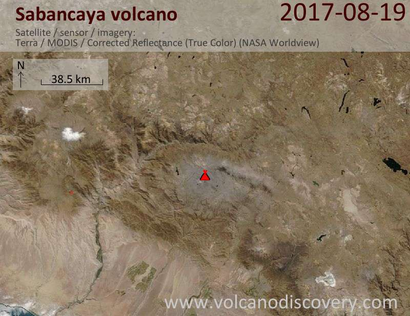 Satellite image of Sabancaya volcano on 19 Aug 2017