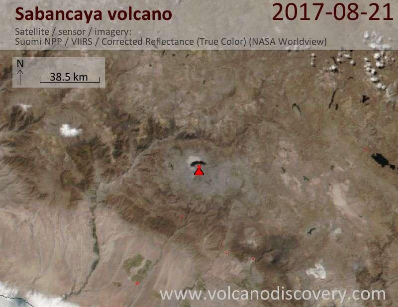 Satellite image of Sabancaya volcano on 22 Aug 2017