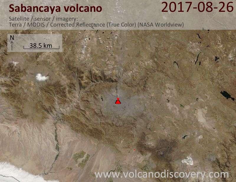 Satellite image of Sabancaya volcano on 26 Aug 2017