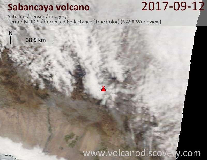 Satellite image of Sabancaya volcano on 12 Sep 2017