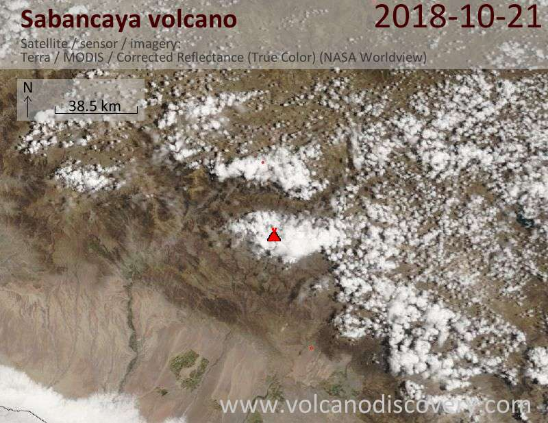 Satellite image of Sabancaya volcano on 21 Oct 2018