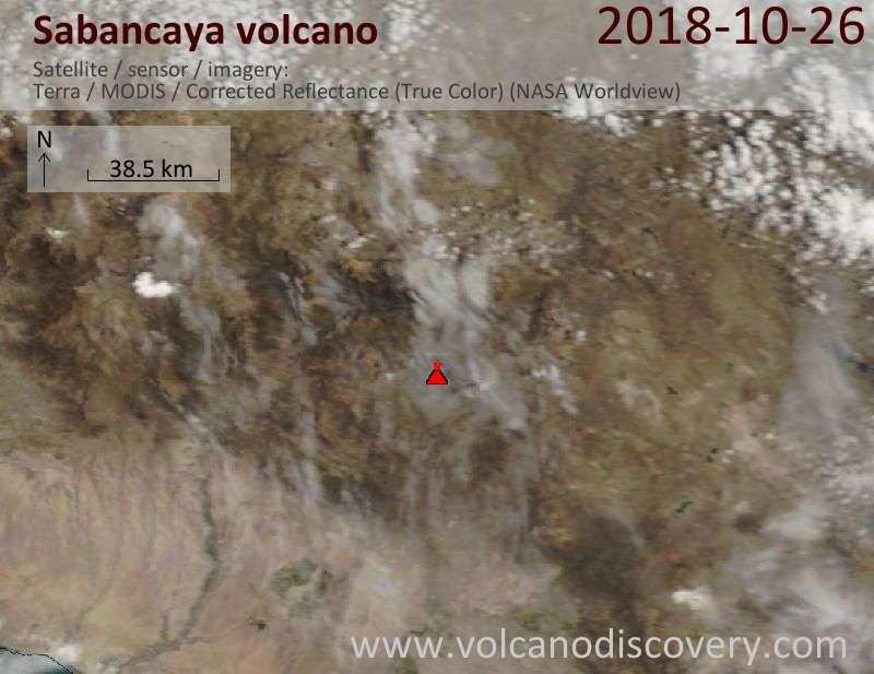 Satellite image of Sabancaya volcano on 26 Oct 2018