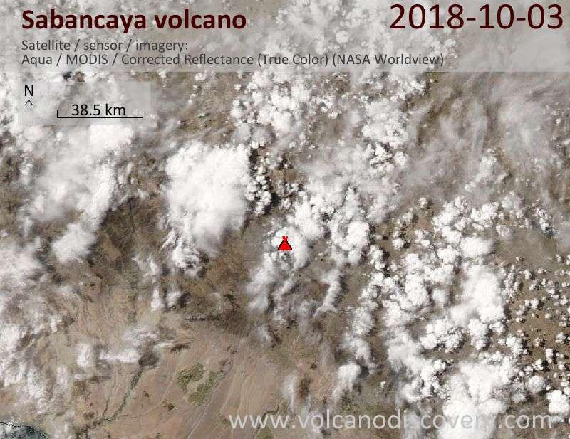 Satellite image of Sabancaya volcano on  3 Oct 2018