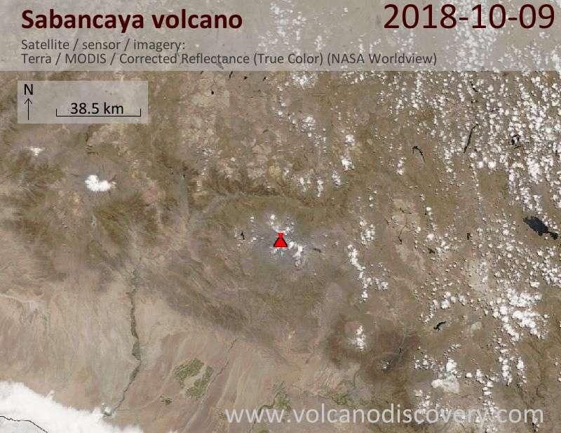 Satellite image of Sabancaya volcano on  9 Oct 2018