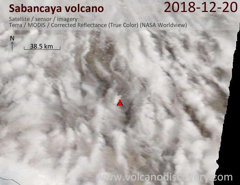 Satellite image of Sabancaya volcano on 20 Dec 2018