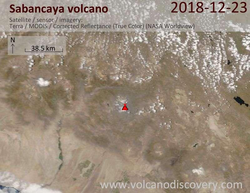 Satellite image of Sabancaya volcano on 23 Dec 2018