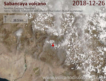 Satellite image of Sabancaya volcano on 26 Dec 2018