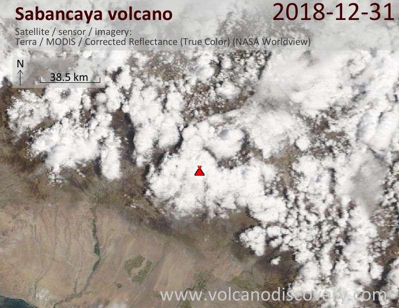 Satellite image of Sabancaya volcano on 31 Dec 2018