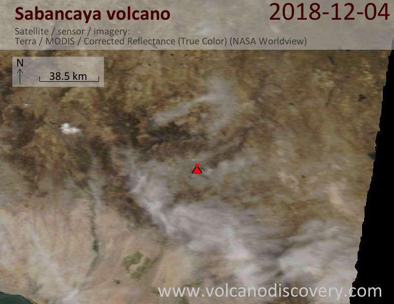Satellite image of Sabancaya volcano on  4 Dec 2018
