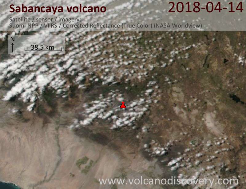 Satellite image of Sabancaya volcano on 15 Apr 2018