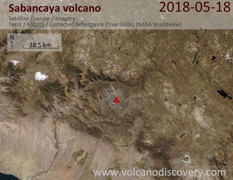 Satellite image of Sabancaya volcano on 18 May 2018