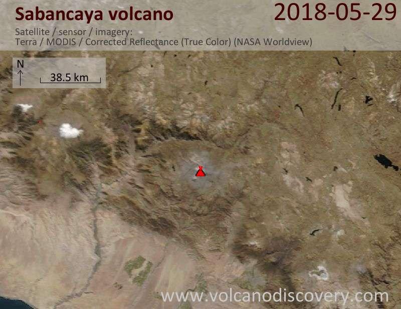 Satellite image of Sabancaya volcano on 29 May 2018