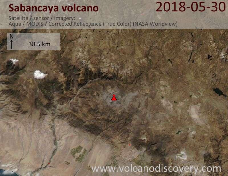 Satellite image of Sabancaya volcano on 31 May 2018