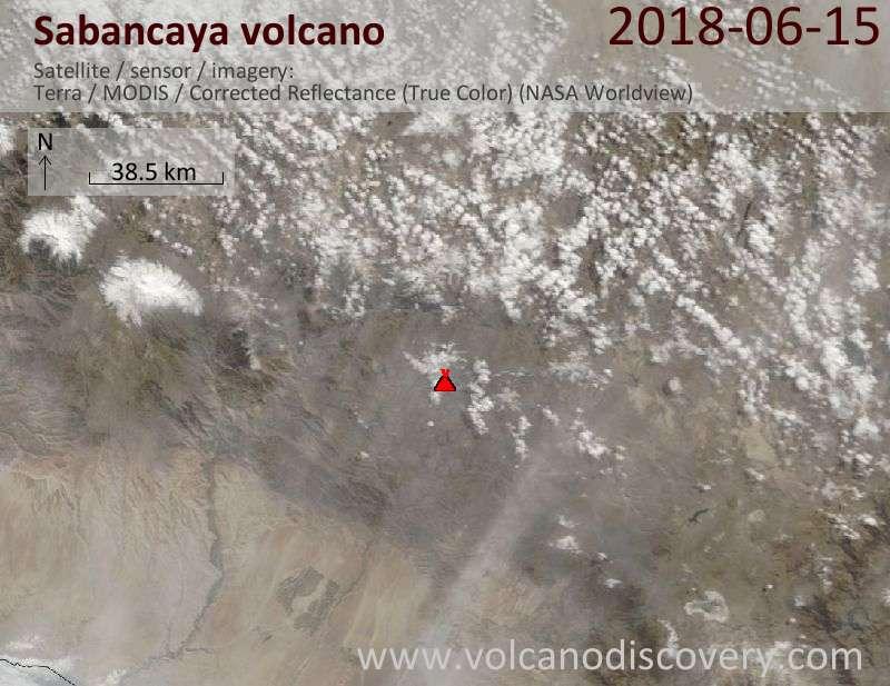 Satellite image of Sabancaya volcano on 15 Jun 2018