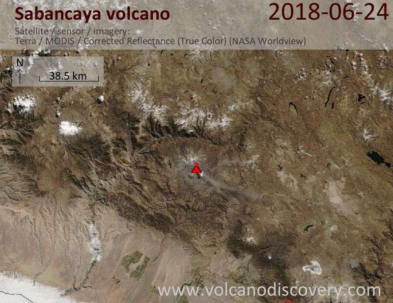 Satellite image of Sabancaya volcano on 24 Jun 2018