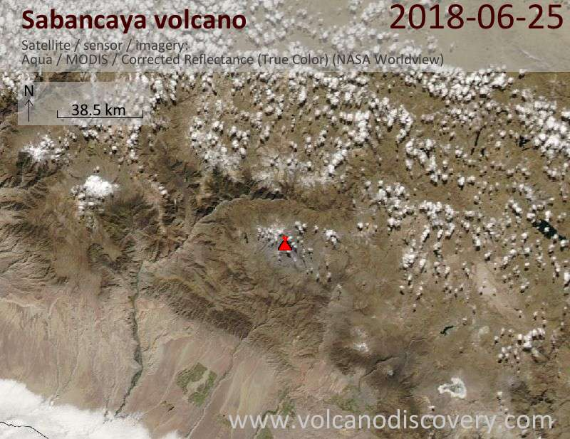 Satellite image of Sabancaya volcano on 25 Jun 2018