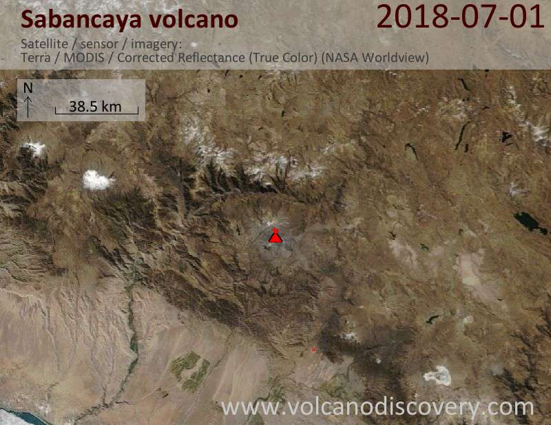 Satellite image of Sabancaya volcano on  1 Jul 2018