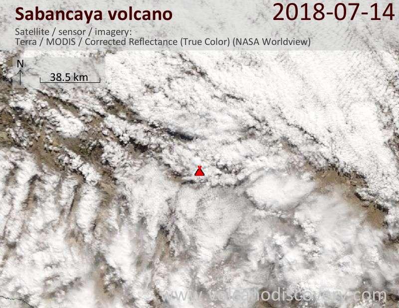 Satellite image of Sabancaya volcano on 14 Jul 2018