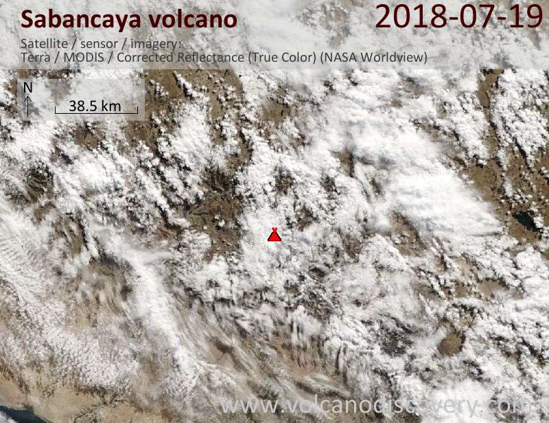 Satellite image of Sabancaya volcano on 19 Jul 2018