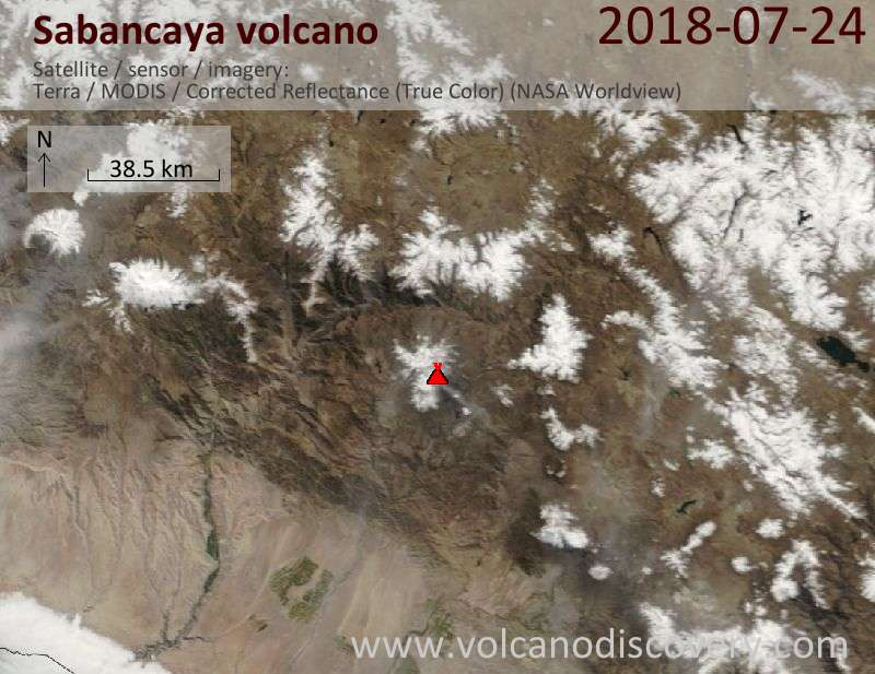 Satellite image of Sabancaya volcano on 24 Jul 2018