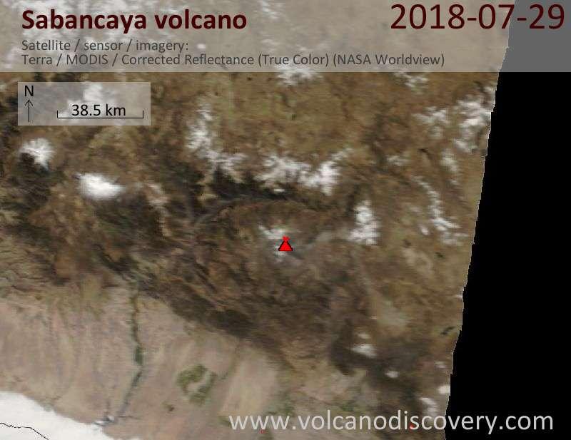 Satellite image of Sabancaya volcano on 28 Jul 2018