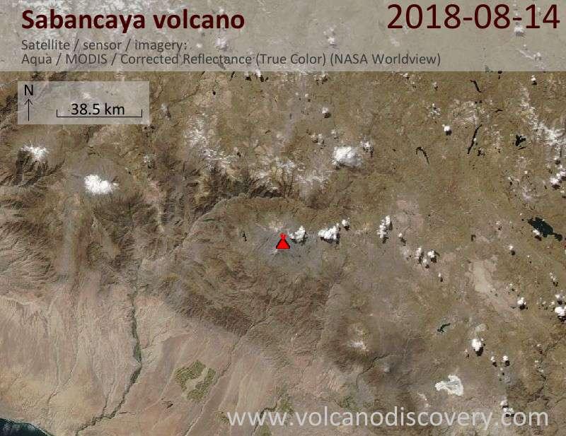 Satellite image of Sabancaya volcano on 14 Aug 2018