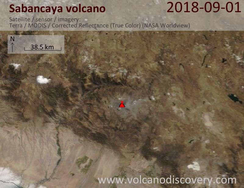 Satellite image of Sabancaya volcano on  1 Sep 2018