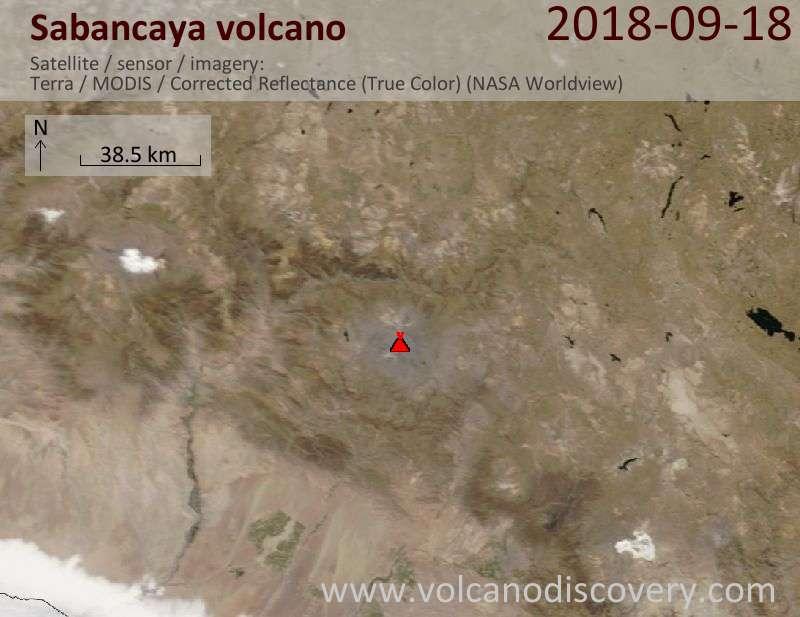 Satellite image of Sabancaya volcano on 18 Sep 2018