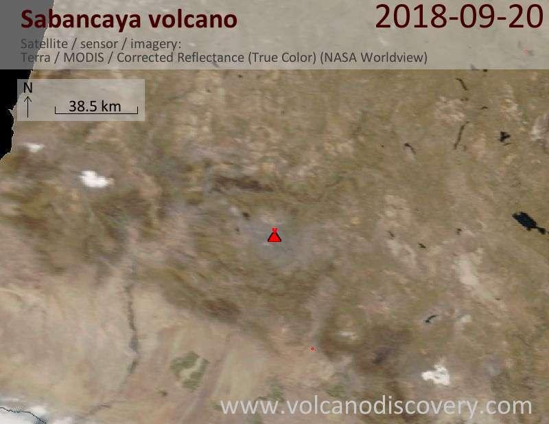 Satellite image of Sabancaya volcano on 20 Sep 2018
