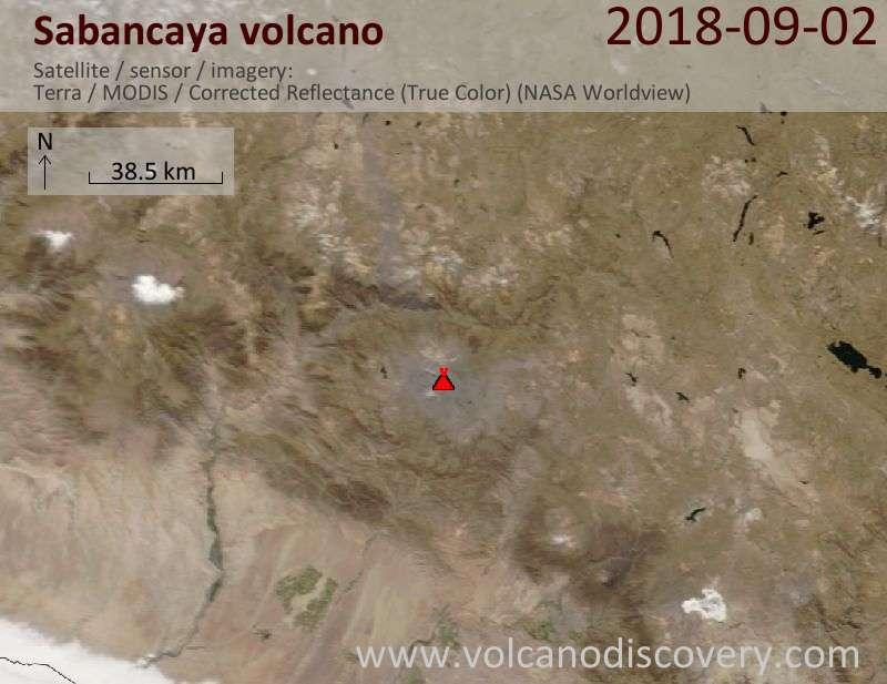 Satellite image of Sabancaya volcano on  3 Sep 2018