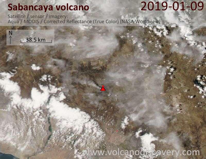 Спутниковое изображение вулкана Sabancaya 10 Jan 2019