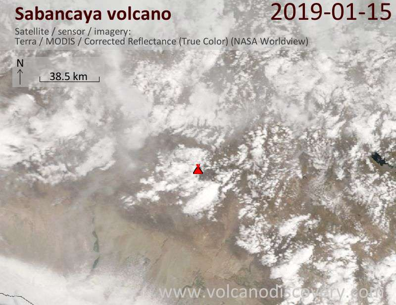 Satellitenbild des Sabancaya Vulkans am 15 Jan 2019