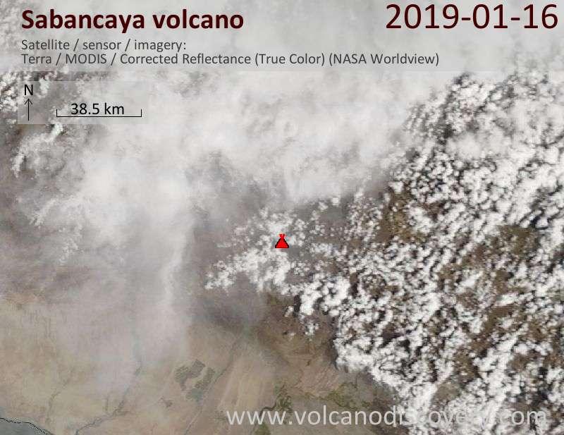 Satellite image of Sabancaya volcano on 16 Jan 2019