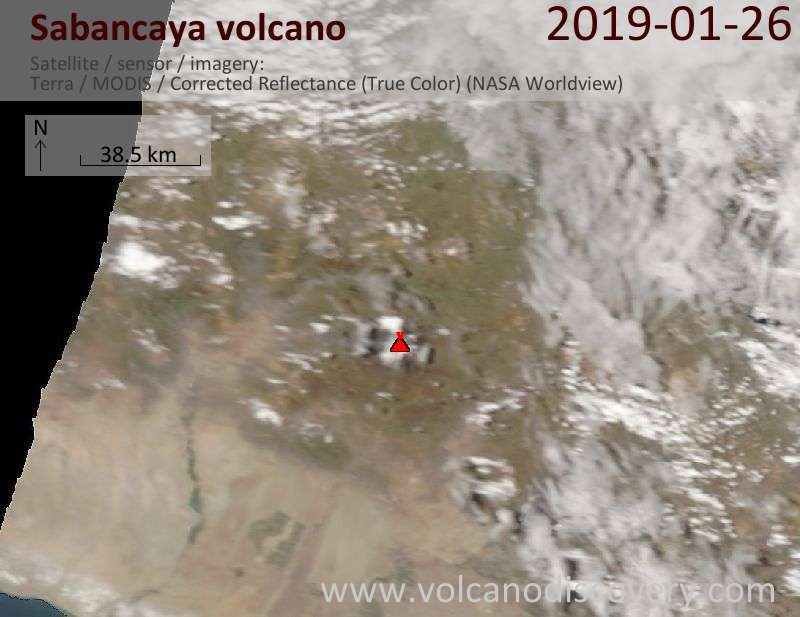 Satellite image of Sabancaya volcano on 26 Jan 2019