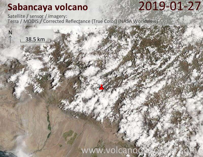 Satellitenbild des Sabancaya Vulkans am 27 Jan 2019
