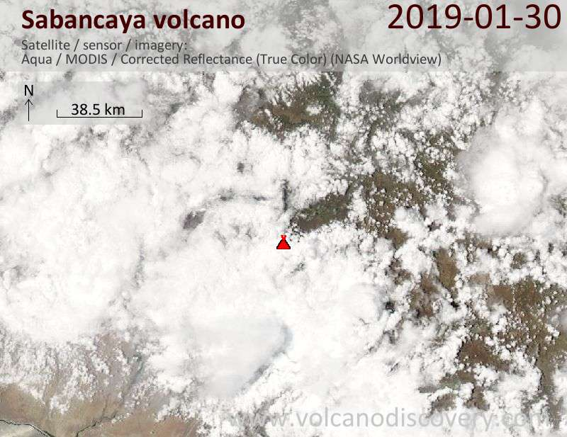 Satellite image of Sabancaya volcano on 31 Jan 2019
