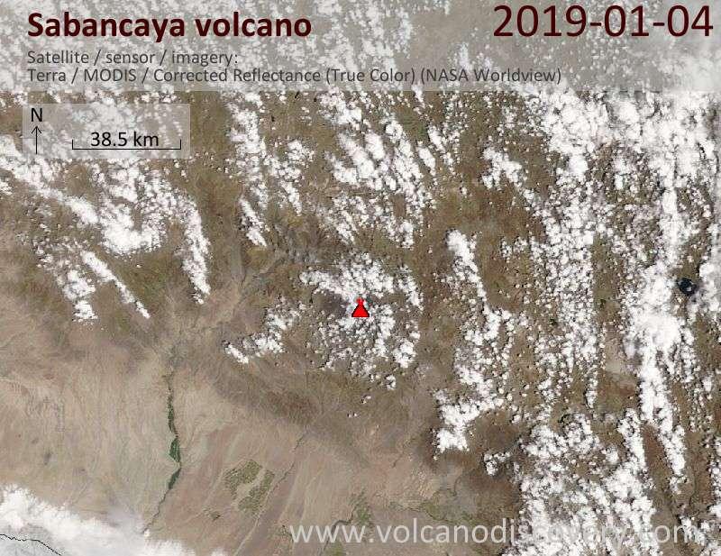 Спутниковое изображение вулкана Sabancaya  4 Jan 2019
