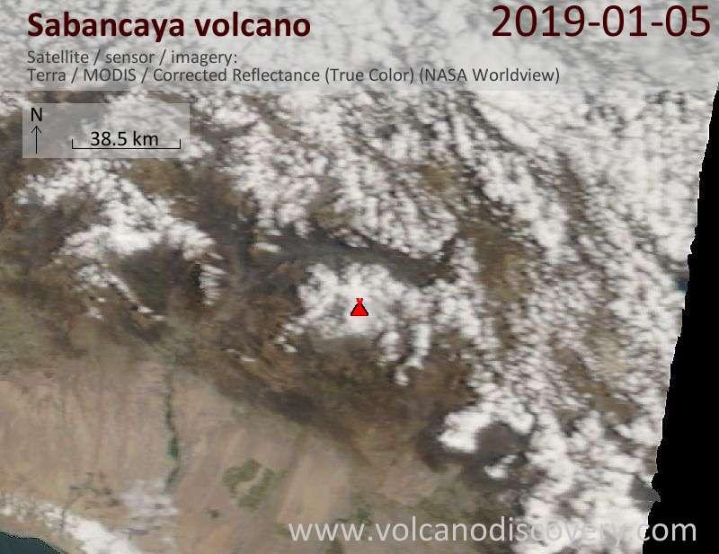 Спутниковое изображение вулкана Sabancaya  5 Jan 2019