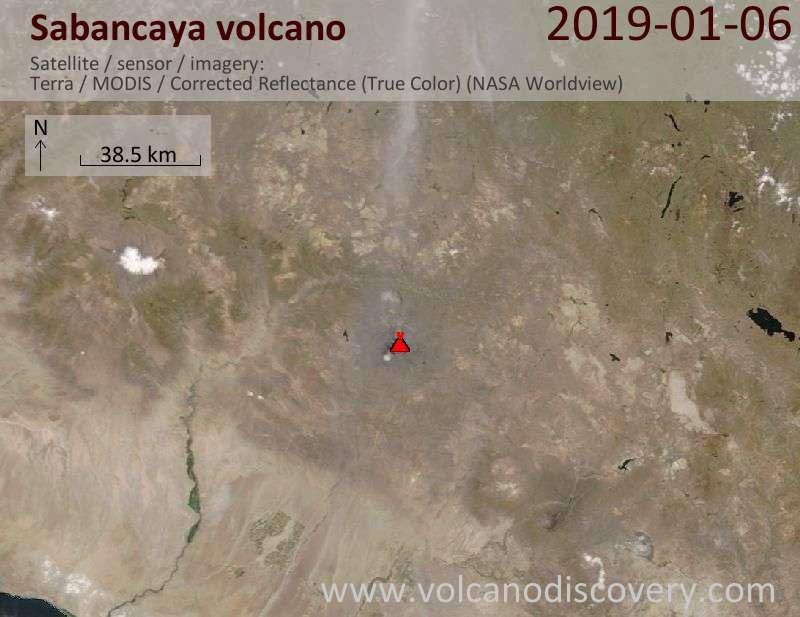 Satellite image of Sabancaya volcano on  6 Jan 2019